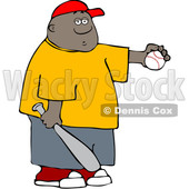Clipart of a Cartoon Black Boy Athlete Holding a Baseball and Bat - Royalty Free Vector Illustration © djart #1594521