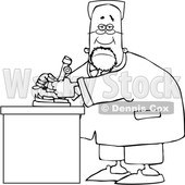 Clipart of a Cartoon Lineart Black Male Scientist Using a Microscope - Royalty Free Vector Illustration © djart #1595484