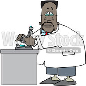Clipart of a Cartoon Black Male Scientist Using a Microscope - Royalty Free Vector Illustration © djart #1595486