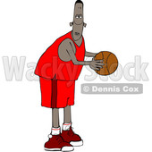 Clipart of a Cartoon Black Male Basketball Player - Royalty Free Vector Illustration © djart #1596358