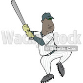 Clipart of a Cartoon Black Male Baseball Player Batting - Royalty Free Vector Illustration © djart #1596895