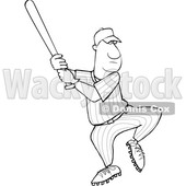 Clipart of a Cartoon Lineart Black Male Baseball Player Batting - Royalty Free Vector Illustration © djart #1596896
