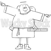 Clipart of a Cartoon Lineart Black Male Angel Holding His Arms out at His Sides - Royalty Free Vector Illustration © djart #1600047
