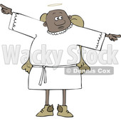 Clipart of a Cartoon Black Male Angel Holding His Arms out at His Sides - Royalty Free Vector Illustration © djart #1600048