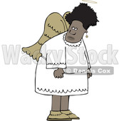 Clipart of a Cartoon Black Female Angel - Royalty Free Vector Illustration © djart #1600049