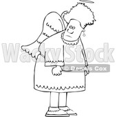 Clipart of a Cartoon Lineart Black Female Angel - Royalty Free Vector Illustration © djart #1600050