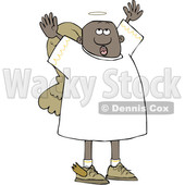 Clipart of a Black Male Angel Looking up and Holding His Arms up - Royalty Free Vector Illustration © djart #1600930