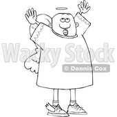 Clipart of a Lineart Black Male Angel Looking up and Holding His Arms up - Royalty Free Vector Illustration © djart #1600931