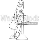 Clipart of a Cartoon Lineart Black Woman Sitting with a Cocktail at a Table - Royalty Free Vector Illustration © djart #1601190