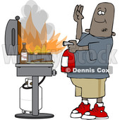 Clipart of a Cartoon Black Man Using a Fire Extinguisher to Put out Flaming Meat Patties on a Bbq Grill - Royalty Free Vector Illustration © djart #1601191