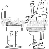 Clipart of a Cartoon Lineart Black Man Using a Fire Extinguisher to Put out Flaming Meat Patties on a Bbq Grill - Royalty Free Vector Illustration © djart #1601192