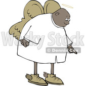 Clipart of a Cartoon Black Male Angel Pointing down - Royalty Free Vector Illustration © djart #1601194