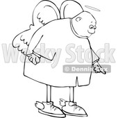 Clipart of a Cartoon Lineart Black Male Angel Pointing down - Royalty Free Vector Illustration © djart #1601195