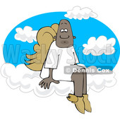 Clipart of a Cartoon Black Male Angel Sitting on the Clouds of Heaven - Royalty Free Vector Illustration © djart #1601212