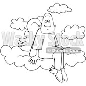 Clipart of a Cartoon Lineart Black Male Angel Sitting on the Clouds of Heaven - Royalty Free Vector Illustration © djart #1601213