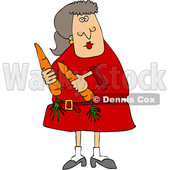 Clipart of a Cartoon Woman Holding Carrots - Royalty Free Vector Illustration © djart #1601266