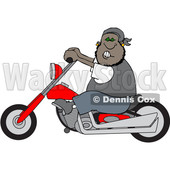 Clipart of a Cartoon Black Male Biker Riding a Motorcycle - Royalty Free Vector Illustration © djart #1601485