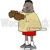 Clipart of a Cartoon Beat up Black Boy Boxer - Royalty Free Vector Illustration © djart #1601525