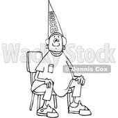 Clipart of a Cartoon Lineart Black Boy Wearing a Dunce Hat and Sitting in a Chair - Royalty Free Vector Illustration © djart #1602224
