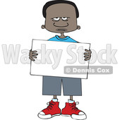 Clipart of a Cartoon Angry Black Boy Holding a Blank Sign - Royalty Free Vector Illustration © djart #1602226