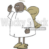 Clipart of a Cartoon Black Male Angel Holding up a Hand to Swear - Royalty Free Vector Illustration © djart #1602455