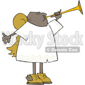 Clipart of a Cartoon Black Male Angel Blowing a Horn - Royalty Free Vector Illustration © djart #1603537
