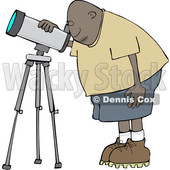 Clipart of a Cartoon Black Male Astronomer Looking Through a Telescope - Royalty Free Vector Illustration © djart #1603539
