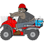 Clipart of a Cartoon Black Man Riding a Red ATV with an Ice Box on the Back - Royalty Free Vector Illustration © djart #1603540
