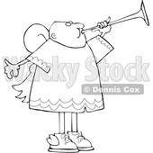 Clipart of a Cartoon Lineart Black Male Angel Blowing a Horn - Royalty Free Vector Illustration © djart #1603541