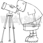 Clipart of a Cartoon Lineart Black Male Astronomer Looking Through a Telescope - Royalty Free Vector Illustration © djart #1603543