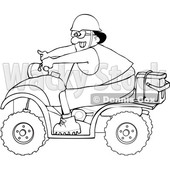 Clipart of a Cartoon Lineart Black Man Riding a Red ATV with an Ice Box on the Back - Royalty Free Vector Illustration © djart #1603544