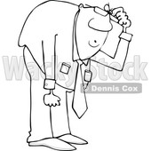 Clipart of a Cartoon Lineart Black Business Man Bending over to Look at Something - Royalty Free Vector Illustration © djart #1603640