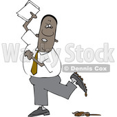 Clipart of a Cartoon Black Business Man Stepping in a Pile of Dog Poop - Royalty Free Vector Illustration © djart #1603642