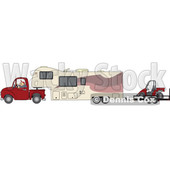 Clipart of a Cartoon White Man Driving a Pickup Truck and Hauling a Camper Fifth Wheel Trailer with an Atv on a Trailer - Royalty Free Vector Illustration © djart #1603645