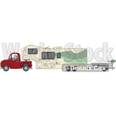 Clipart of a Cartoon White Man Driving a Pickup Truck and Hauling a Camper Fifth Wheel Trailer with a Boat on a Trailer - Royalty Free Vector Illustration © djart #1603646