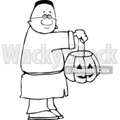 Clipart of a Cartoon Lineart Black Boy Holding a Halloween Candy Bucket and Trick or Treating - Royalty Free Vector Illustration © djart #1603882