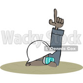 Clipart of a Cartoon Black Man Buried in a Trench, Safety - Royalty Free Vector Illustration © djart #1603884