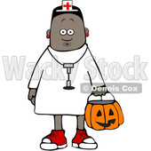 Clipart of a Cartoon Black Girl Wearing Halloween Nurse Costume While Trick or Treating - Royalty Free Vector Illustration © djart #1603885