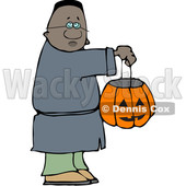 Clipart of a Cartoon Black Boy Holding a Halloween Candy Bucket and Trick or Treating - Royalty Free Vector Illustration © djart #1603886