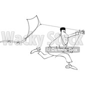 Clipart of a Lineart Black Man Running with a Kite - Royalty Free Vector Illustration © djart #1604525