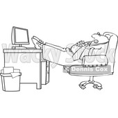 Clipart of a Cartoon Lineart Black Businessman Sleeping with His Feet on His Desk - Royalty Free Vector Illustration © djart #1604528