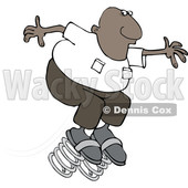 Clipart of a Cartoon Black Man Springing Forward - Royalty Free Vector Illustration © djart #1604534