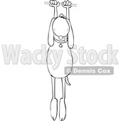 Clipart of a Cartoon Lineart Dog Hanging on - Royalty Free Vector Illustration © djart #1605154
