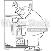 Clipart of a Cartoon Lineart Black Man Looking for Something to Eat in the Fridge - Royalty Free Vector Illustration © djart #1605394