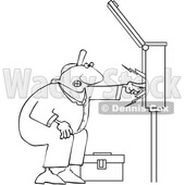 Clipart of a Cartoon Lineart Black Male Electrician Touching a Power Box - Royalty Free Vector Illustration © djart #1606080