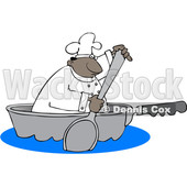 Clipart of a Cartoon Black Male Chef Using a Spoon to Paddle a Pan Boat - Royalty Free Vector Illustration © djart #1606083