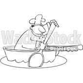Clipart of a Cartoon Lineart Black Male Chef Using a Spoon to Paddle a Pan Boat - Royalty Free Vector Illustration © djart #1606084