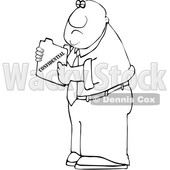 Clipart of a Cartoon Lineart Black Business Man Holding a Confidential File - Royalty Free Vector Illustration © djart #1606273