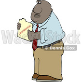 Clipart of a Cartoon Black Business Man Holding a Confidential File - Royalty Free Vector Illustration © djart #1606274