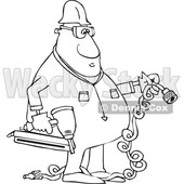 Clipart of a Cartoon Lineart Black Male Construction Worker Holding an Air Nailer - Royalty Free Vector Illustration © djart #1606295